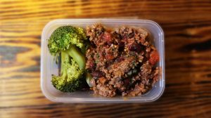 Beef Chilli, Rice and Broccoli