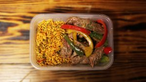 Sizzling Steak, Peppers and Rice